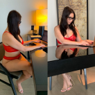 Hotwife Nora at work as a sexy secretary.